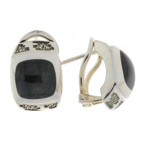 Серьги женские серебряные 925* родий соколиный глаз Арт 11 2 5361