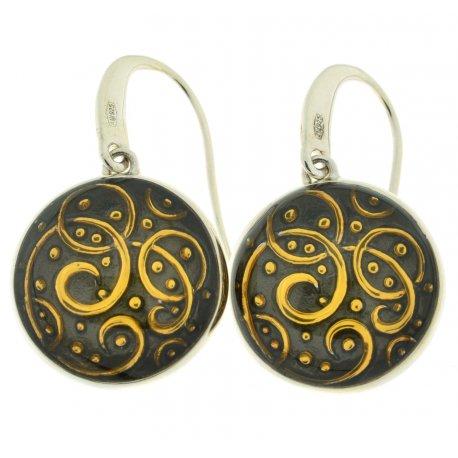 Серьги женские серебряные 925* позолота родий эмаль Арт 11 2 5187