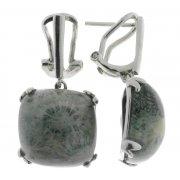 Серьги женские серебряные 925* родий коралл серый Арт 11 8007