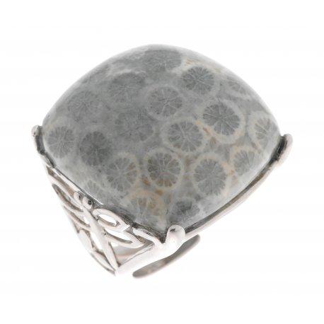 Кольцо женское серебряное 925* родий коралл серый Арт 15 5145