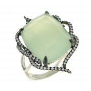 Кольцо женское серебряное 925* родий чернение жадеит цирконий Арт 15 5401D