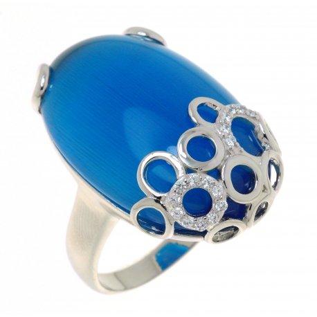 Кольцо женское серебряное 925* родий кошачий глаз цирконий Арт15 6013А-Х