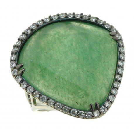 Кольцо женское серебряное 925* родий авантюрин циркон Арт 15 6031