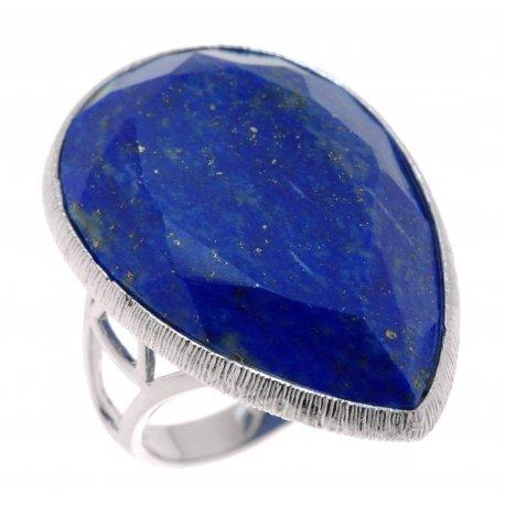 Кольцо женское серебряное 925* родий лазурит Арт15 6034
