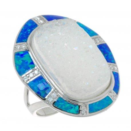 Кольцо женское серебряное 925* родий друза агата синт. опал циркон Арт 15 6073Х