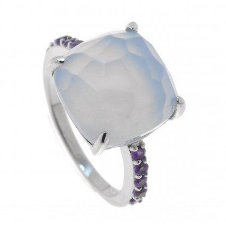 Кольцо женское серебряное 925* родий халцедон циркон Арт 15 6218