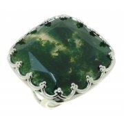 Кольцо женское серебряное 925* родий моховый агат Арт 15 6758