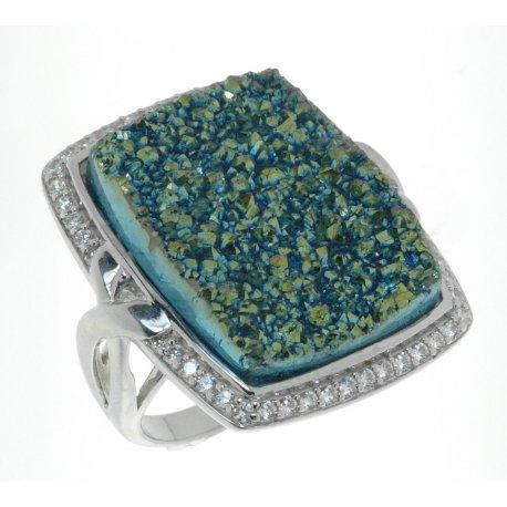 Кольцо женское серебряное 925* родий цирконий друза зеленый агат Арт 15 6759