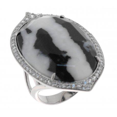Кольцо женское серебряное 925* родий цирконий яшма Арт 15 6764