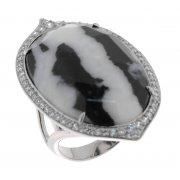Каблучка жіноча срібна 925* родій цирконій яшма Арт 15 6764