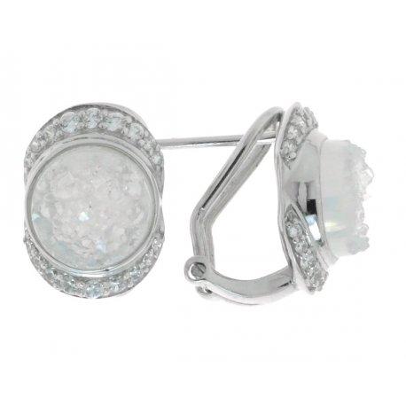 Серьги женские серебряные 925* родий друза агата циркон Арт 11 8014