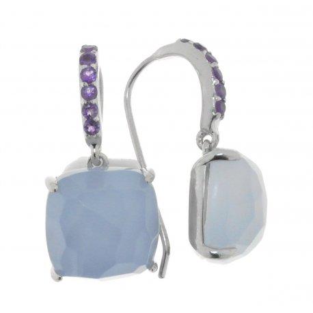 Сережки жіночі срібні 925* родій халцедон циркон Арт 11 7078