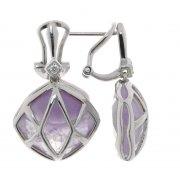 Серьги женские серебряные 925* родий цирконий аметист Арт 11 8005
