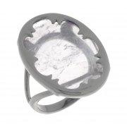 Кольцо женское серебряное 925* чернение аметист Арт 15 6761