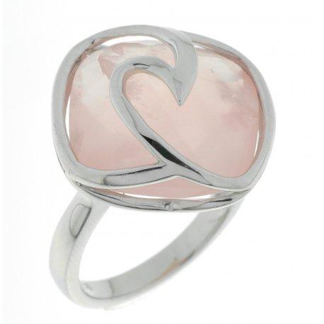 Кольцо женское серебряное 925* родий розовый кварц Арт 15 6321D