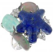 Кольцо женское серебряное 925* родий лазурит кварц амазонит циркон Арт 15 5313