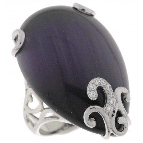 Кольцо женское серебряное 925* родий кошачий глаз цирконий Арт15 6005А-Х
