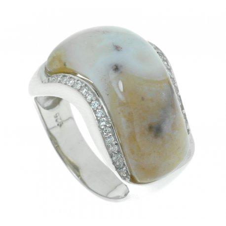 Кольцо женское серебряное 925* родий цирконий яшма Арт 15 5281А
