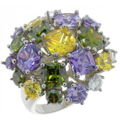Кольцо женское серебряное 925* родий цирконий Арт 15 2707А