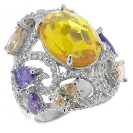 Кольцо женское серебряное 925* родий цирконий Арт 15 2845В