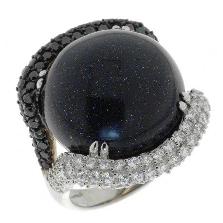 Кольцо женское серебряное 925* родий авантюрин Арт 15 3802А