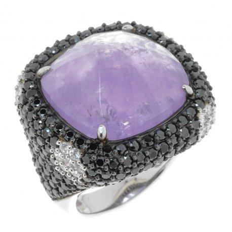 Кольцо женское серебряное 925* родий циркон аметист Арт 15 3826