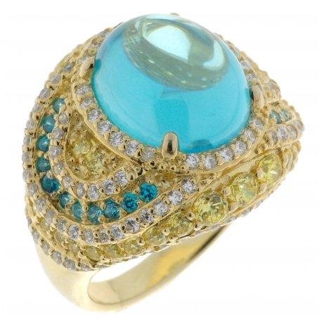 Кольцо женское серебряное 925* позолота цирконий Арт 55 4764А