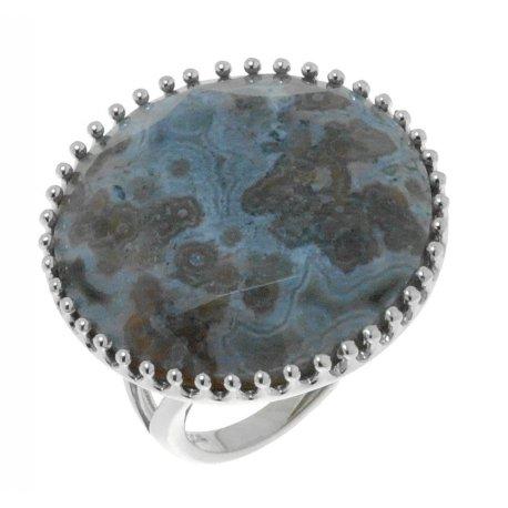 Каблучка жіноча срібна 925* родій яшма сіра Арт 15 6757