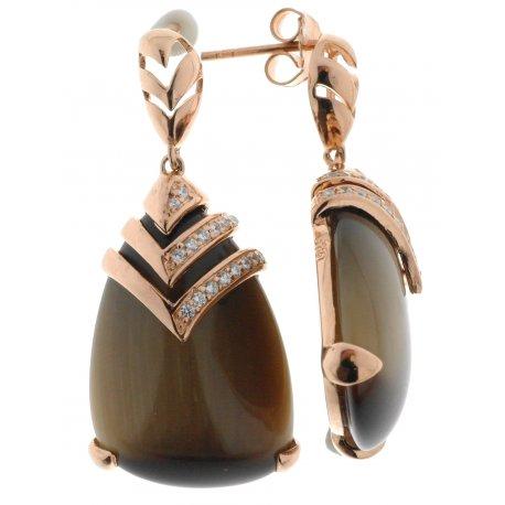 Серьги женские серебряные 925* позолота кошачий глаз цирконий Арт51 6856
