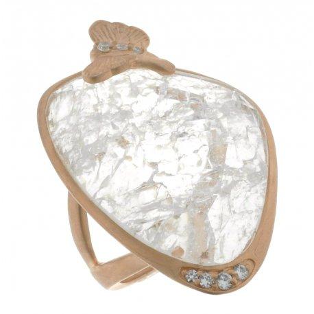 Каблучка жіноча срібна 925* позолота цирконій кварц Арт 55 6358