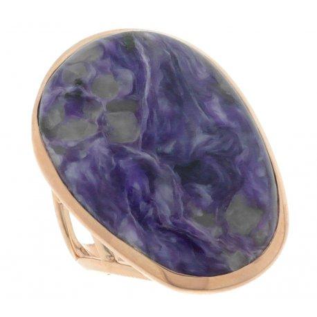 Кольцо женское серебряное 925* позолота чароит Арт 55 6763
