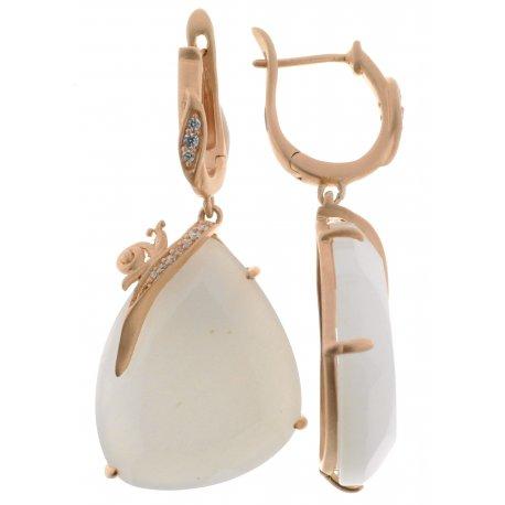 Серьги женские серебряные 925* позолота цирконий оникс Арт 51 7381А
