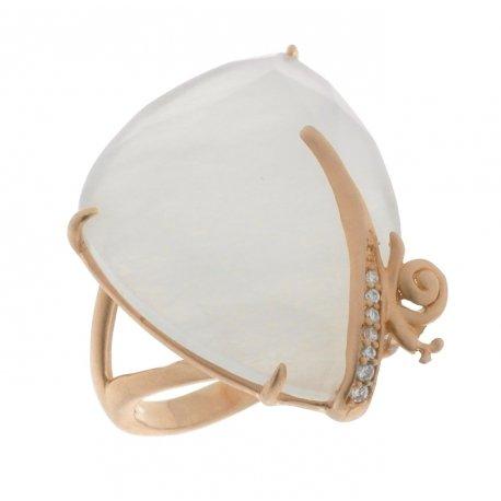 Кольцо женское серебряное 925* позолота цирконий оникс Арт 55 6353