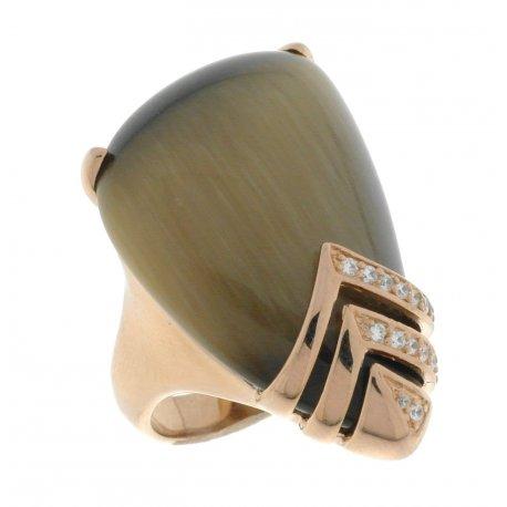 Кольцо женское серебряное 925* позолота кошачий глаз цирконий Арт55 6000А-Х