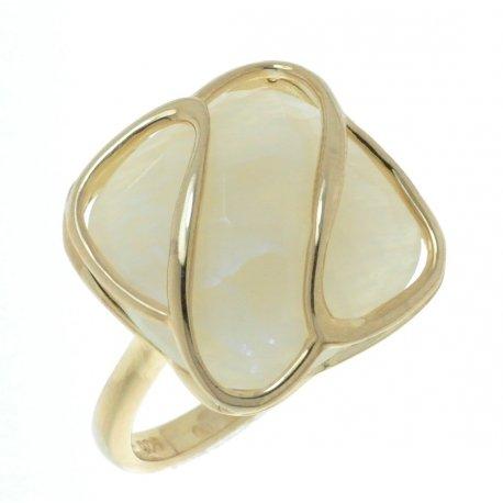 Кольцо женское серебряное 925* позолота лунный камень Арт 55 6318