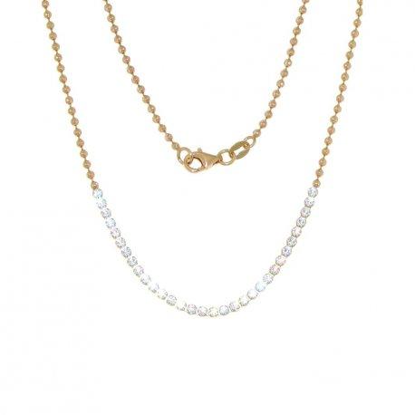 Колье женское серебряное 925* позолота цирконий Арт 440 001-45