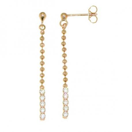 Серьги женские серебряные 925* позолота цирконий Арт 442 001
