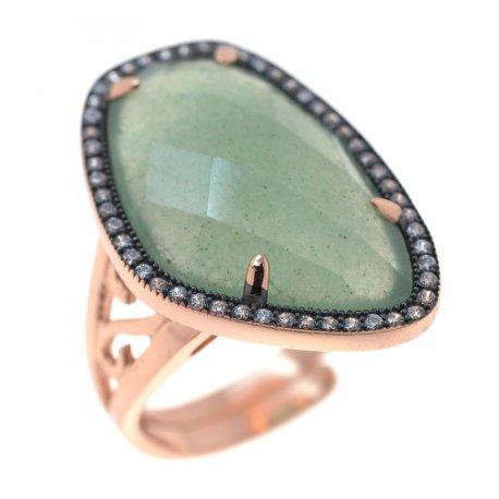 Кольцо женское серебряное925* позолота авантюрин циркон Арт 55 4 00547
