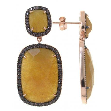 Серьги женские серебряные 925* позолота чернение нефрит цирконий Арт 51 4 00861