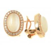 Серьги женские серебряные 925* позолота кошачий глаз цирконий Арт11 4 0410