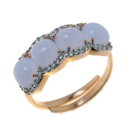 Кольцо женское серебряное 925* позолота цирконий Арт 15 4 0270