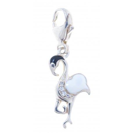 Підвіс жіночий срібний 925* родій цирконій емаль Арт 13 2 3382