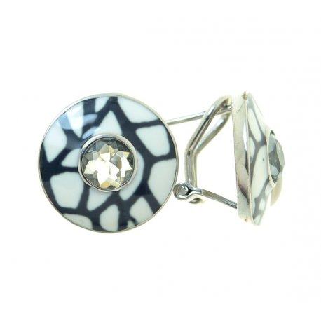 Серьги женские серебряные 925* родий цирконий эмаль Арт 11 1026А