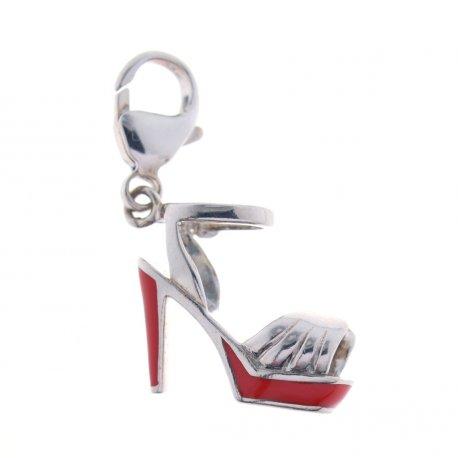 Підвіс жіночий срібний 925* родій червона емаль Арт 13 2 2852
