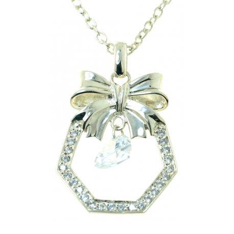 Колье женское серебряное 925* родий цирконий Арт 12 2 5228-80