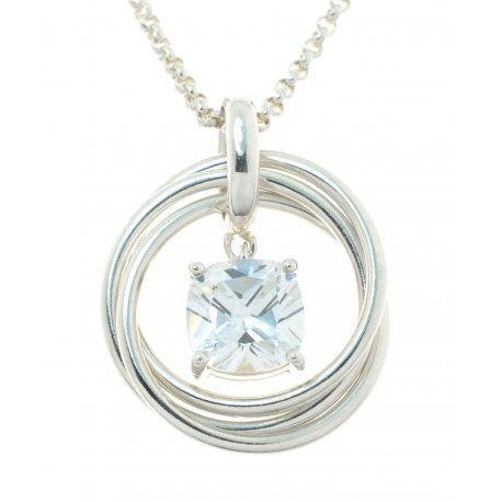 Колье женское серебряное 925* родий цирконий Арт 12 2 5434-80