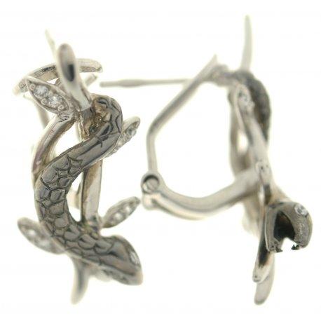 Серьги женские серебряные 925* цирконий чернение родий Арт 11 5591