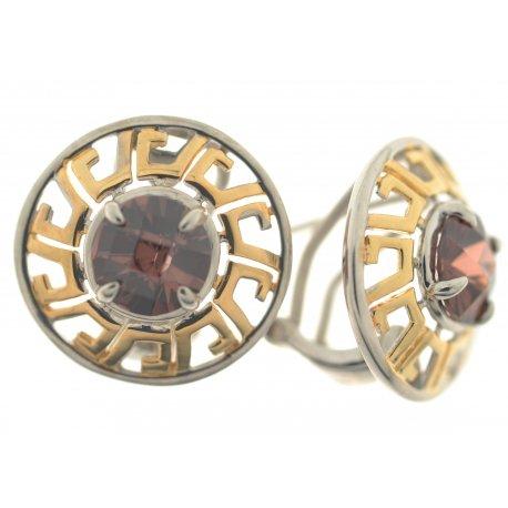 Серьги женские серебряные 925* родий позолота циркон Арт 11 7577