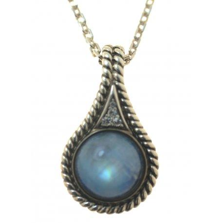 Колье женское серебряное 925* чернение лунный камень цирконий Арт 12 2 5999-56