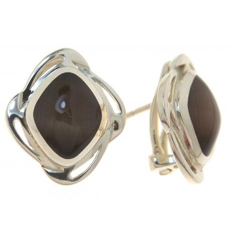 Серьги женские серебряные 925* родий кошачий глаз Арт 11 2 5355